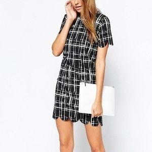 ASOS Daisy Street scallop hem checkered dress